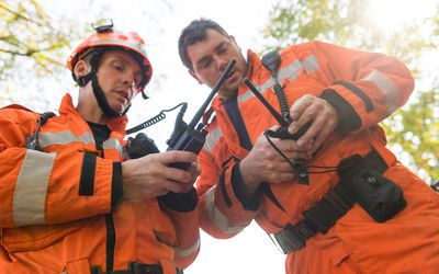 settings Embed Share Comp Save to Board Firefighters using walkie talkie, rescue operation