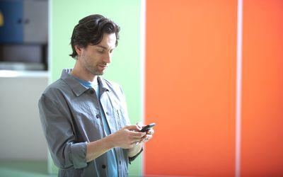 man checking his smartphone