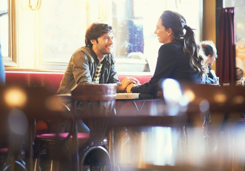 Couple in intimate restaurant
