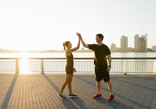 exercising couple