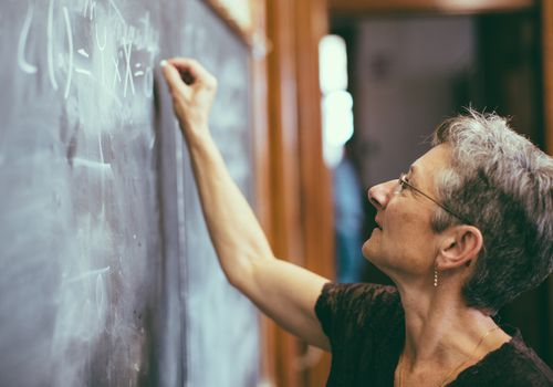 woman doing math