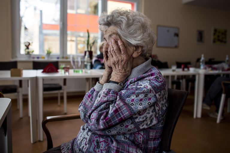 A woman with dementia at a day facility for the elderly.