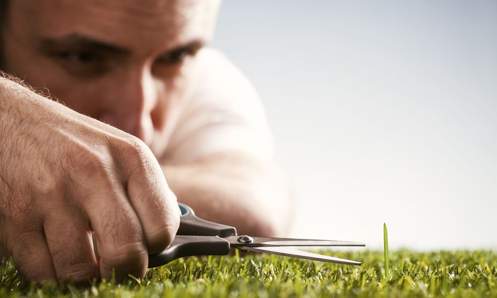 Man with anal personality cutting his grass.
