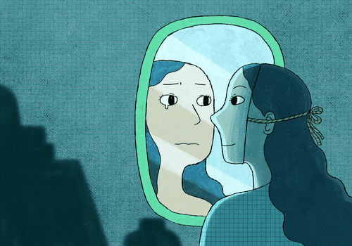 Woman looking in the mirror.
