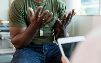 A man talking to therapist