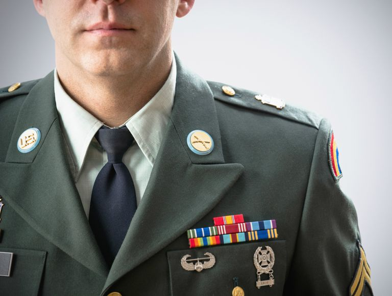 Close up of soldier wearing decorated military uniform