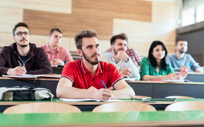 University students during the lectures - active and modern studying apporach