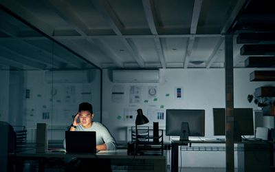 Man staying up late working
