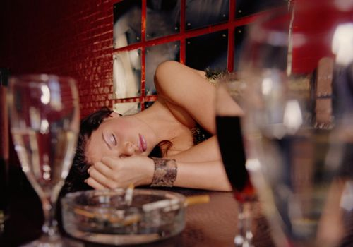 Woman Passed Out on Bar Counter