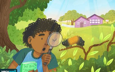 drawing of a little boy looking at a caterpillar through a magnifying glass