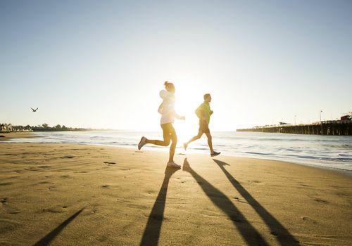 Jogging along the coast