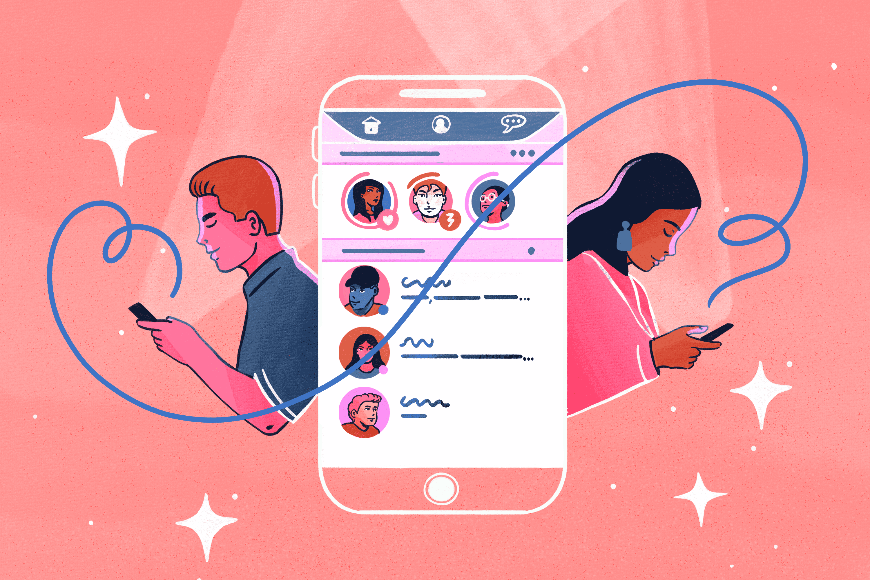 Illustration of a an and woman using a dating app