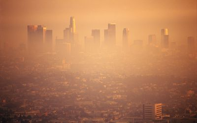 los angeles covered by a layer of smog