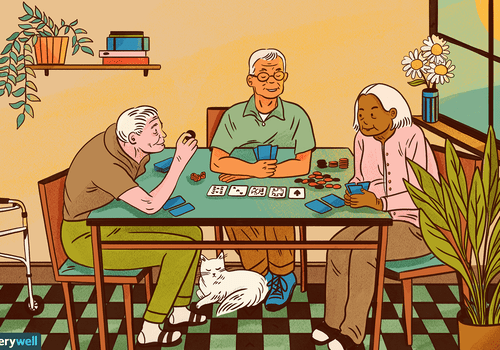 drawing of old people playing cards together