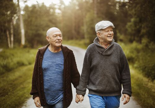 Two white gay men walk down a dirt road while holding hands and smiling.