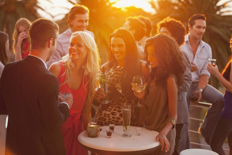 party with friends drinking outdoors