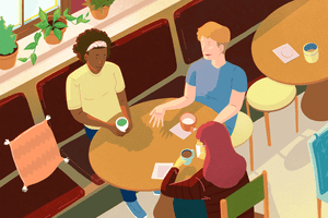 group of friends having coffee together