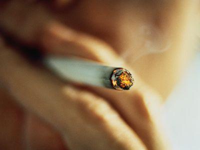 close up of lit cigarette