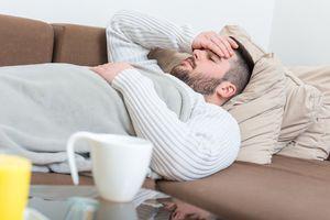 Sick man with flu