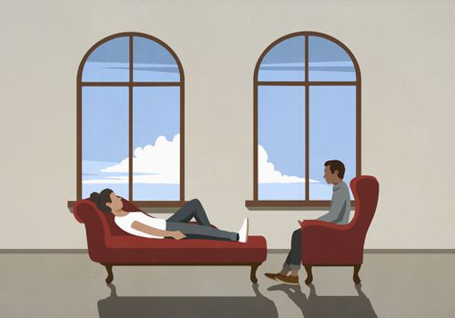 Therapist talking to patient on chaise lounge in office - stock illustration