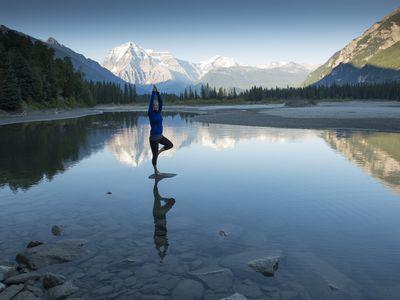 Peaceful yoga in nature