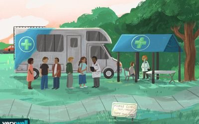 drawing of people standing outside of a mobile opioid use clinic