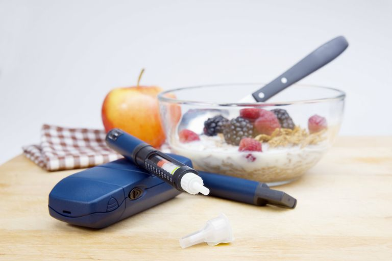 Diabetic tester and healthy breakfast