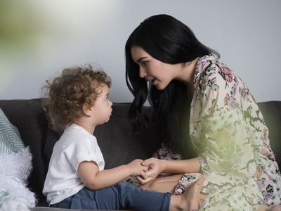 Woman talking to her son