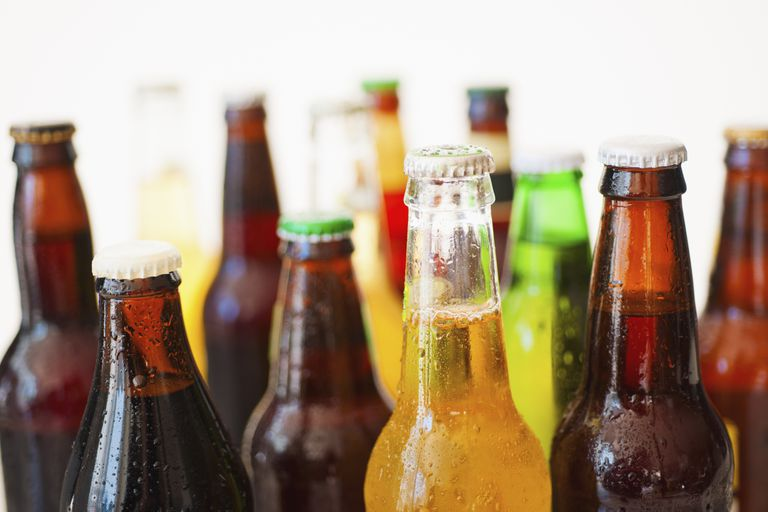 Studio shot of various beer bottles