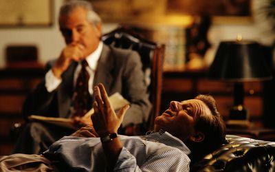 Man talking to psychotherapist