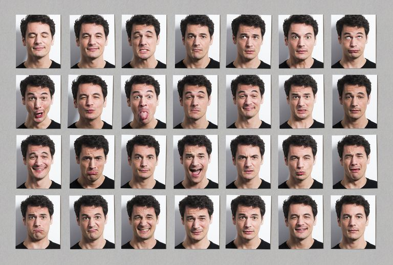 Collage of man making different facial expressions