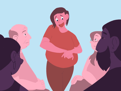 A scene of an Overeaters Anonymous group meeting