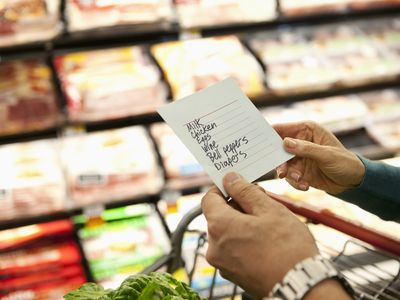 woman holding a shopping list at the grovery store