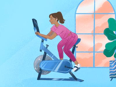 Woman on exercise bike, sweating