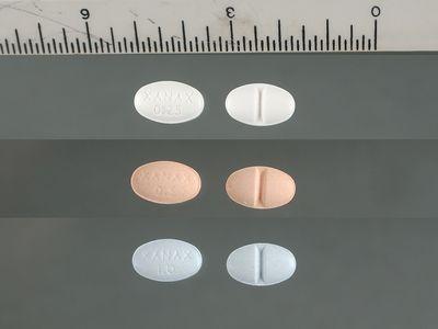 xanax pills next to ruler