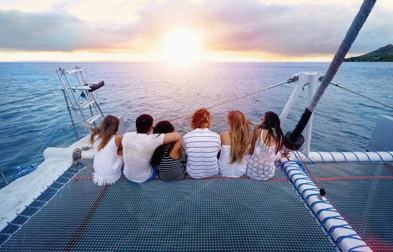 Friends on boat