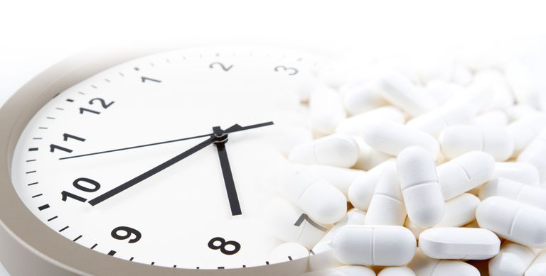 Clock with white pills
