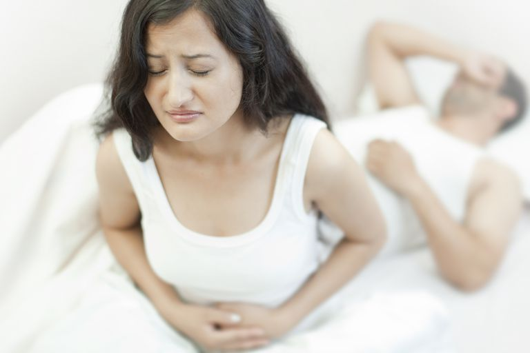 Woman with stomach pain.