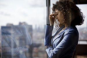Stress tired businesswoman
