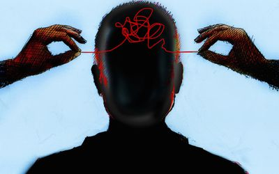 illustration of hands unraveling thread in a man's head