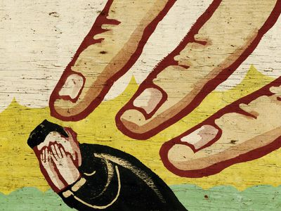 Illustration of fingers pointing at a man with his hands over his face