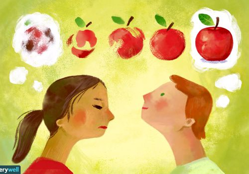 two people try to picture an apple in their mind's eye