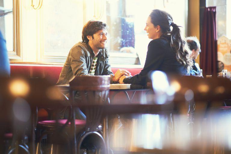 Couple in intimate restaurant
