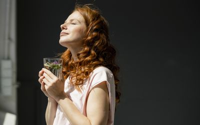 woman enjoying the sunlight