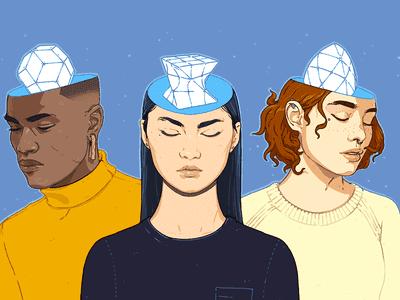 Neurodiverse individuals conceptual illustration