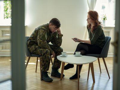 Veteran speaking to therapist