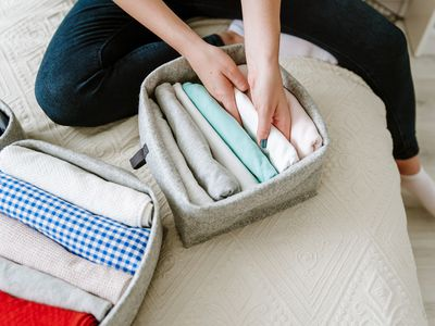 Woman organizing clothes