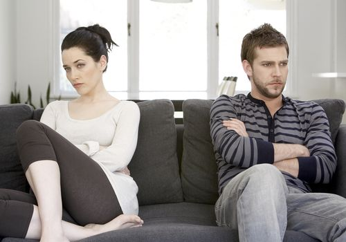 Couple dealing with angry emotions