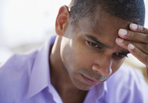 Man feels stress and anxiety