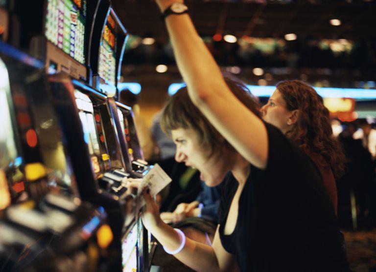 Woman yelling at slot machine